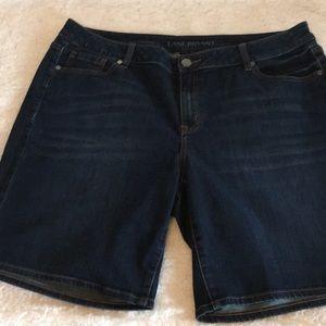 Lane Bryant Indigo Dark Wash Jean Bermuda Shorts